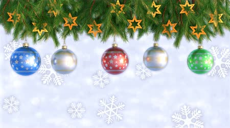 noel ağacı : Christmas Decorations Hanging and Rotating From Twigs- 3D render. Seamless loop