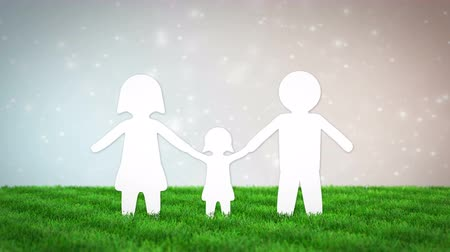 paper family animation on grass field. 3D render Стоковые видеозаписи