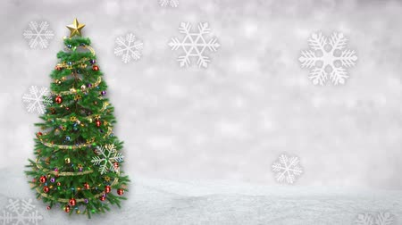 szenteste : rotating Christmas tree on winter background with snowfall animation. 3D render.seamless loop