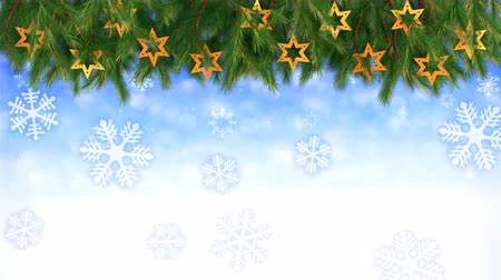 Christmas background - Twigs and stars with falling snowflakes - 3D render. Seamless loop
