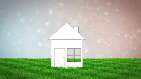 residencial : paper house on grass field. 3D render animation