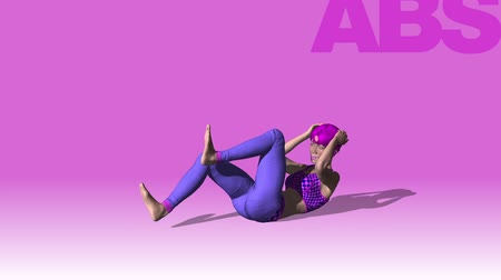 definição : Animation. Young woman doing bicycle crunches in the gym. Fitness. performing crunches moving arms and legs in the gym with her fitness program to get a flat stomach. A healthy lifestyle