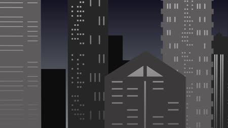 Scene of night landscape in the city in gray tones. An imaginary space where a night landscape glides of sky, moon and skyscrapers that approach and move away until showing a beautiful postcard of an urban landscape. Stok Video