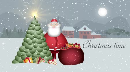 In a snowy landscape with a full moon, Santa Claus looks surprised and greets you with his wide smile and a gift in his hand. In the snowy landscape of a small snowy village with its night sky full moon, Santa Claus looks shyly and greets you with a broad