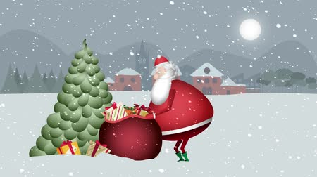 Our friendly Santa Claus walks through the landscape of this beautiful snowy night, fills the gift tree and places the Christmas star. In the snowy landscape of a small town with its night sky full moon, Santa Claus arrives with his red sack full of gifts