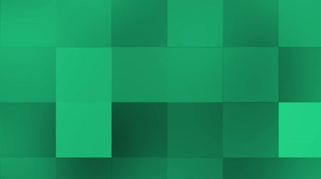 Green color moving grid background. Grid background in green shades of animated squares with gentle rising movements to the right and horizontal direction that focus and blur. Stok Video