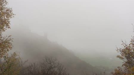 Timelapse of Bezdez Castle in heavy fog in Northern Bohemia, Czech Republic.
