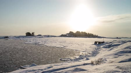 Timelapse of frozen bay in Hanko, Finland