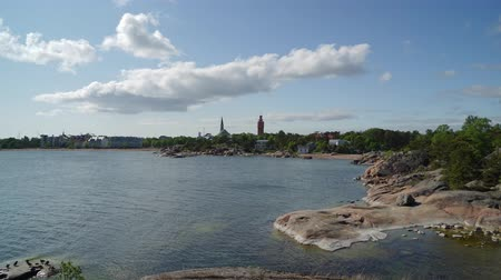 finlandiya : Timelapse of Hanko in summer from the peninsula Stok Video