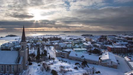 Timelapse of the Hanko beach in the winter from the water tower Stock Footage