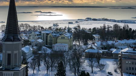 регата : Timelapse of Hanko in the winter on a cloudy day Стоковые видеозаписи