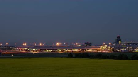 Timelapse of aircraft landing and taxing at Vaclav Havel International Airport, Prague