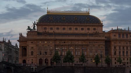 Timelapse of the Prague National Theatre at Dusk Stock Footage