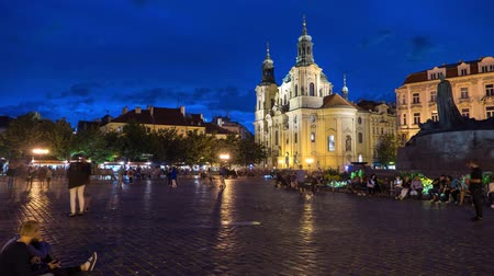 namesti : Timelapse of Sunset over St Nicholas Church in Old Town Stock Footage