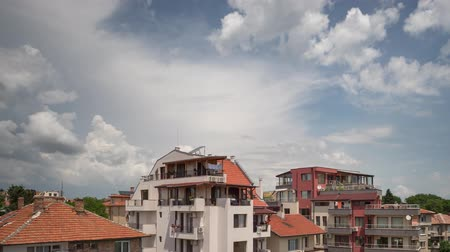 Timelapse of clouds passing over residential apartment building in Burgas, Bulgaria Stock Footage