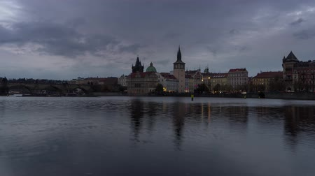 Timelapse of the Charles Bridge over the Vltava at dusk