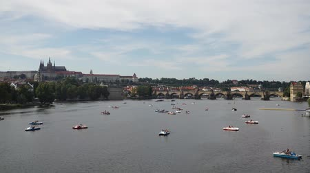 Timelapse of paddle boats on the Vltava in Prague, Czech Republic