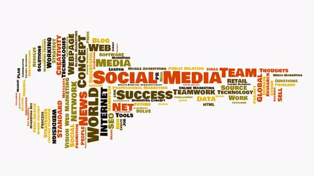 marketing : Social media wordcloud animation ending in a key shape