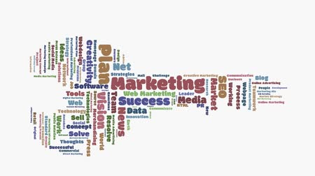 marketing : animated marketing wordcloud key shaped