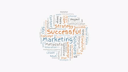 içerik : animated successful marketing word cloud shaped as a circle Stok Video