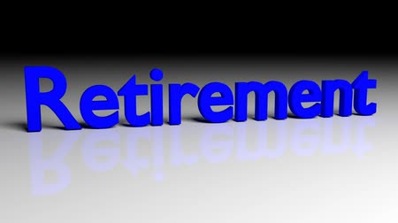 retirement : Dissolve animation of word RETIREMENT in blue