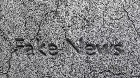 targeted : 3D FAKE NEWS word chipped out of gray stone wall Stock Footage