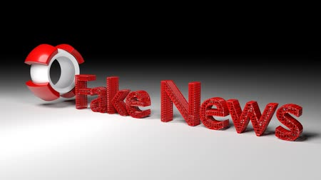 targeted : animation of 3D word FAKE NEWS coming out of a rotating ball Stock Footage