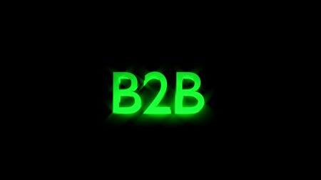 b2b marketing animation with streaking text in green and motion blur