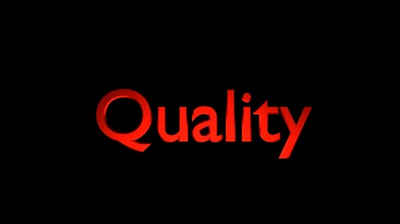 Quality management animation with streaking text and motion blur Stock mozgókép