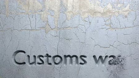 taş duvar : Animation of Customs was word carved in stone wall