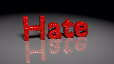hate : Transformation animation from word HATE to LOVE Stock Footage
