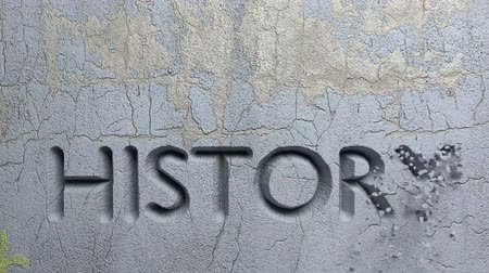 Animation of History word carved in stone wall