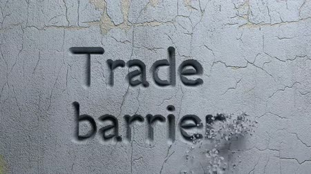 taş duvar : Animation of Trade words carved in stone wall
