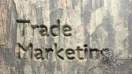 Animation of Trade marketing words carved in stone wall