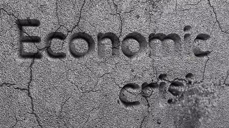 de ativos : Animation of Economic Crisis words carved in gray stone wall