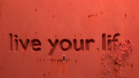 especially : animation of live your life word carved in a red wall Stock Footage