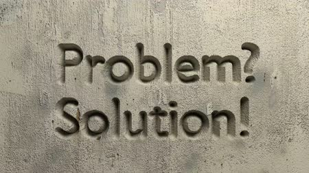 animation of problem? solution! word carved in a gray wall Stock mozgókép