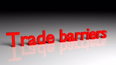 Trade barriers text in red letters dissolves into particles and disappears Stock mozgókép