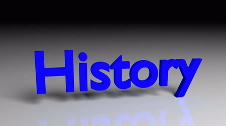 History text in blue letters dissolves into particles and disappears