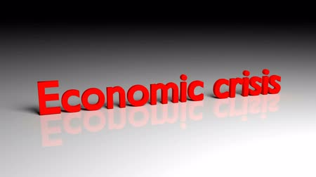 Economic crisis text in red letters dissolves into particles and disappears