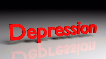 esteem : Depression text in red letters dissolves into particles and disappears