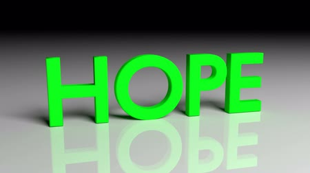 Hope text in green letters dissolves into particles and disappears