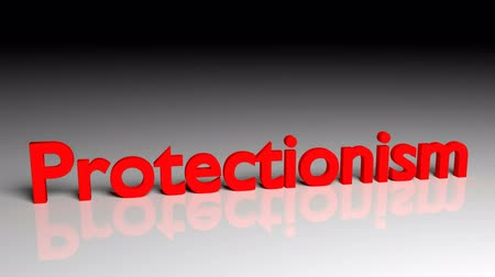 interno : Protectionism text in red letters dissolves into particles and disappears