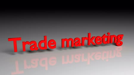 Trade marketing text in red letters dissolves into particles and disappears