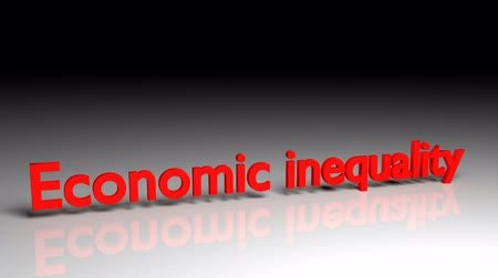 Economic inequality text in red letters dissolves into particles and disappears