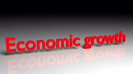 enflasyon : Economic growth text in red letters dissolves into particles and disappears