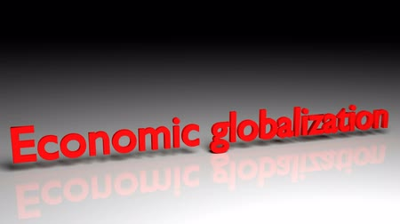 Economic globalization text in red letters dissolves into particles and disappears