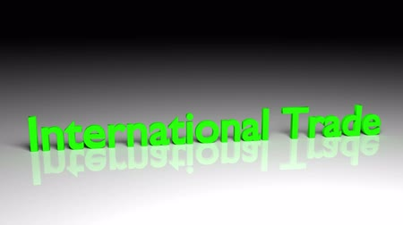 International trade text in green letters dissolves into particles and disappears