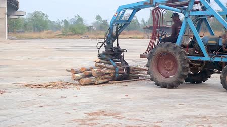 megragad : Man using Sugar Cane Loader or  Grabber for grab Eucalyptus.