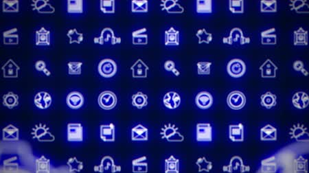 иконки : Business splash screen background of moving away mobile applications glowing blue neon with social media network technology cloud icons available in 4k UHD FullHD and HD video animation footage loop